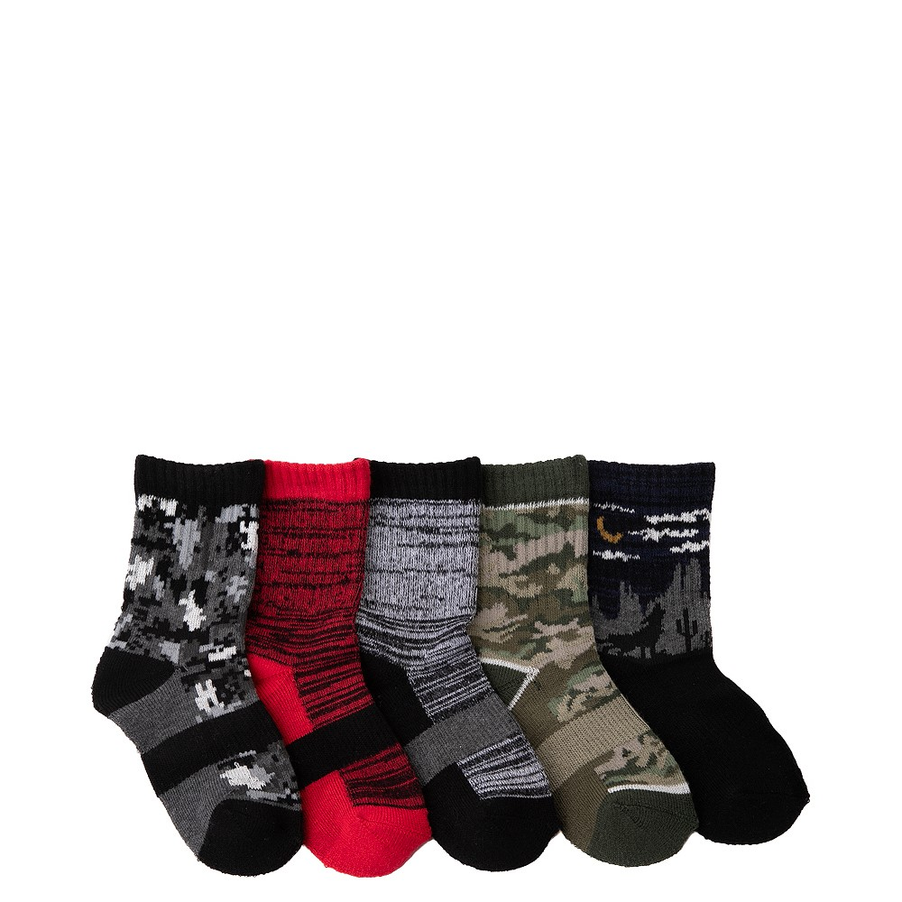 Camo Glow Crew Socks 5 Pack - Toddler - Multicolor