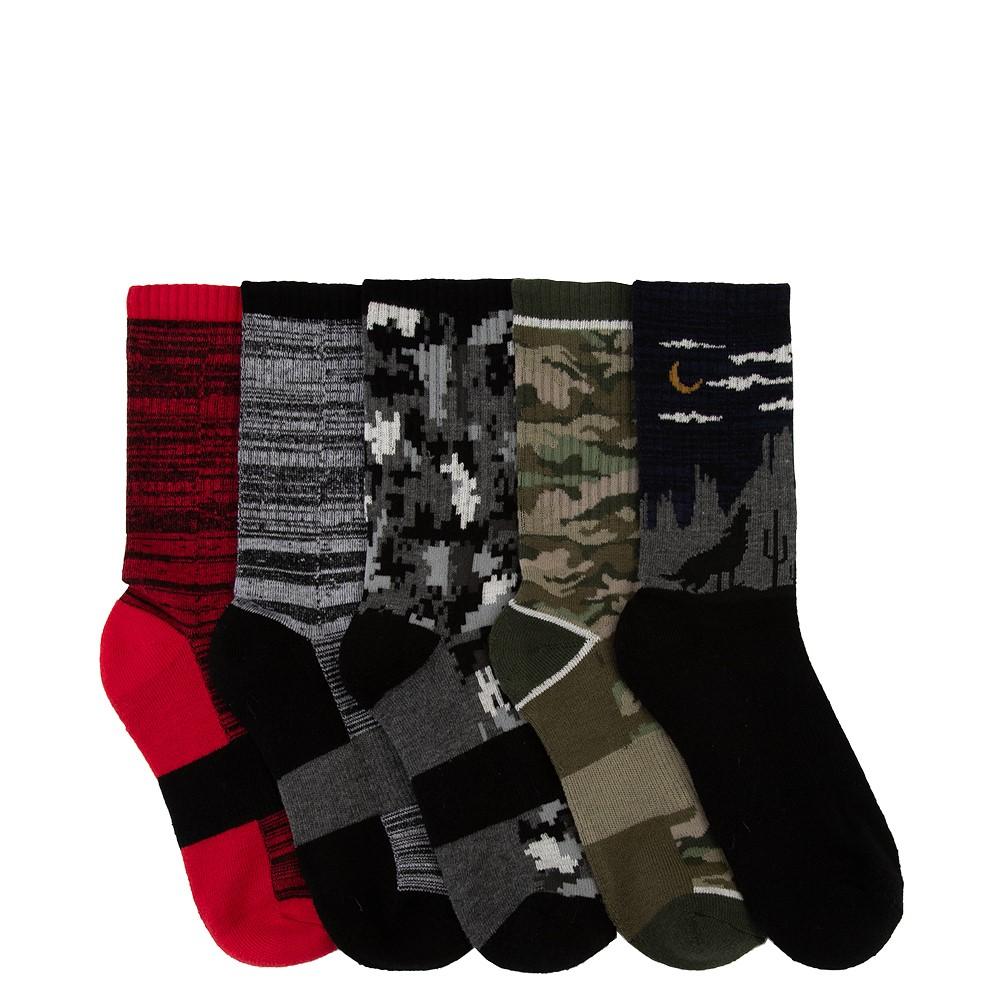 Camo Glow Crew Socks 5 Pack - Big Kid - Multicolor