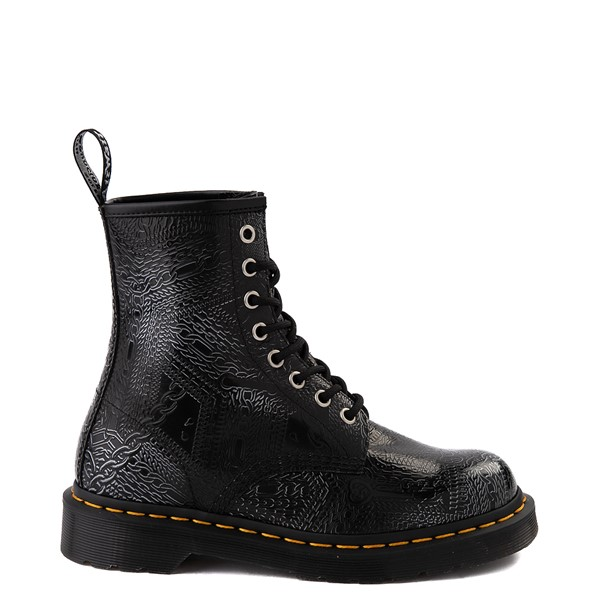 Main view of Dr. Martens1460 8-Eye Chain Emboss Boot - Black / Silver