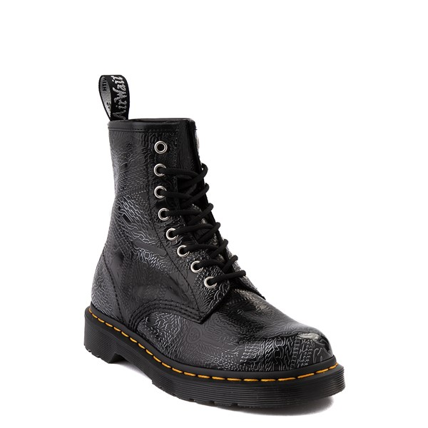 alternate view Dr. Martens1460 8-Eye Chain Emboss Boot - Black / SilverALT5
