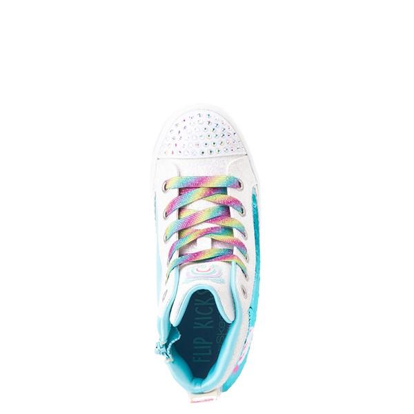 alternate view Skechers Flip Kicks Twi-Lites Unicorn Sneaker - Little Kid - White / Pink / TurquoiseALT4B