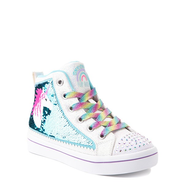 alternate view Skechers Flip Kicks Twi-Lites Unicorn Sneaker - Little Kid - White / Pink / TurquoiseALT5