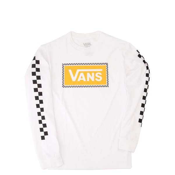 Main view of Vans Checkerboard Frame Long Sleeve Tee - Little Kid / Big Kid - White / Yellow