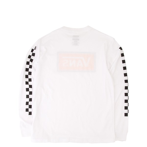 alternate view Vans Checkerboard Frame Long Sleeve Tee - Little Kid / Big Kid - White / YellowALT1