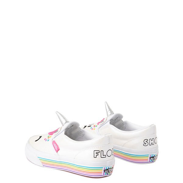 alternate view Vans x FLOUR SHOP Slip On Cara The Unicorn Skate Shoe - Big Kid - WhiteALT1