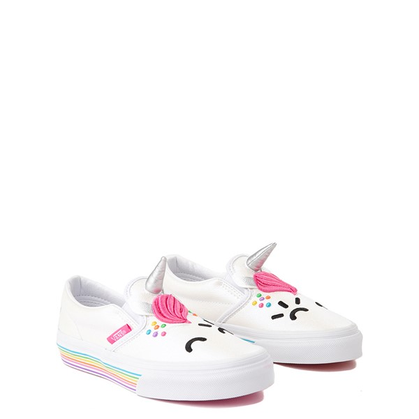 alternate view Vans x FLOUR SHOP Slip On Cara The Unicorn Skate Shoe - Big Kid - WhiteALT1B