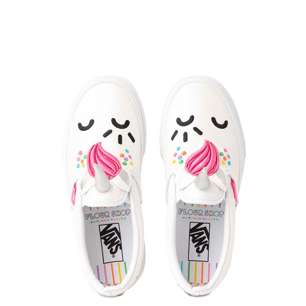 alternate view Vans x FLOUR SHOP Slip On Cara The Unicorn Skate Shoe - Big Kid - WhiteALT2