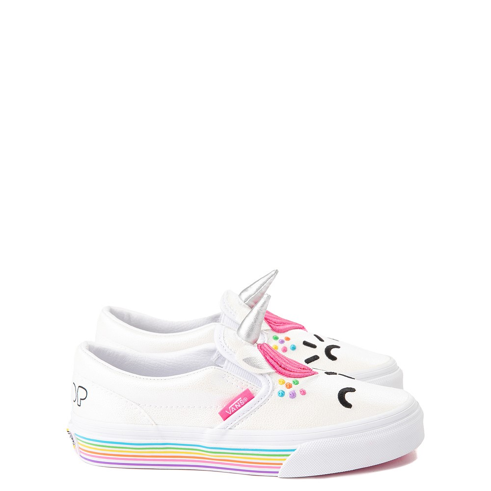 Vans x FLOUR SHOP Slip On Cara The Unicorn Skate Shoe - Big Kid - White