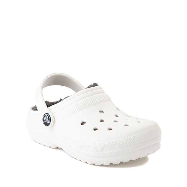 alternate view Crocs Classic Fuzz-Lined Clog - Little Kid / Big Kid - White / GrayALT5