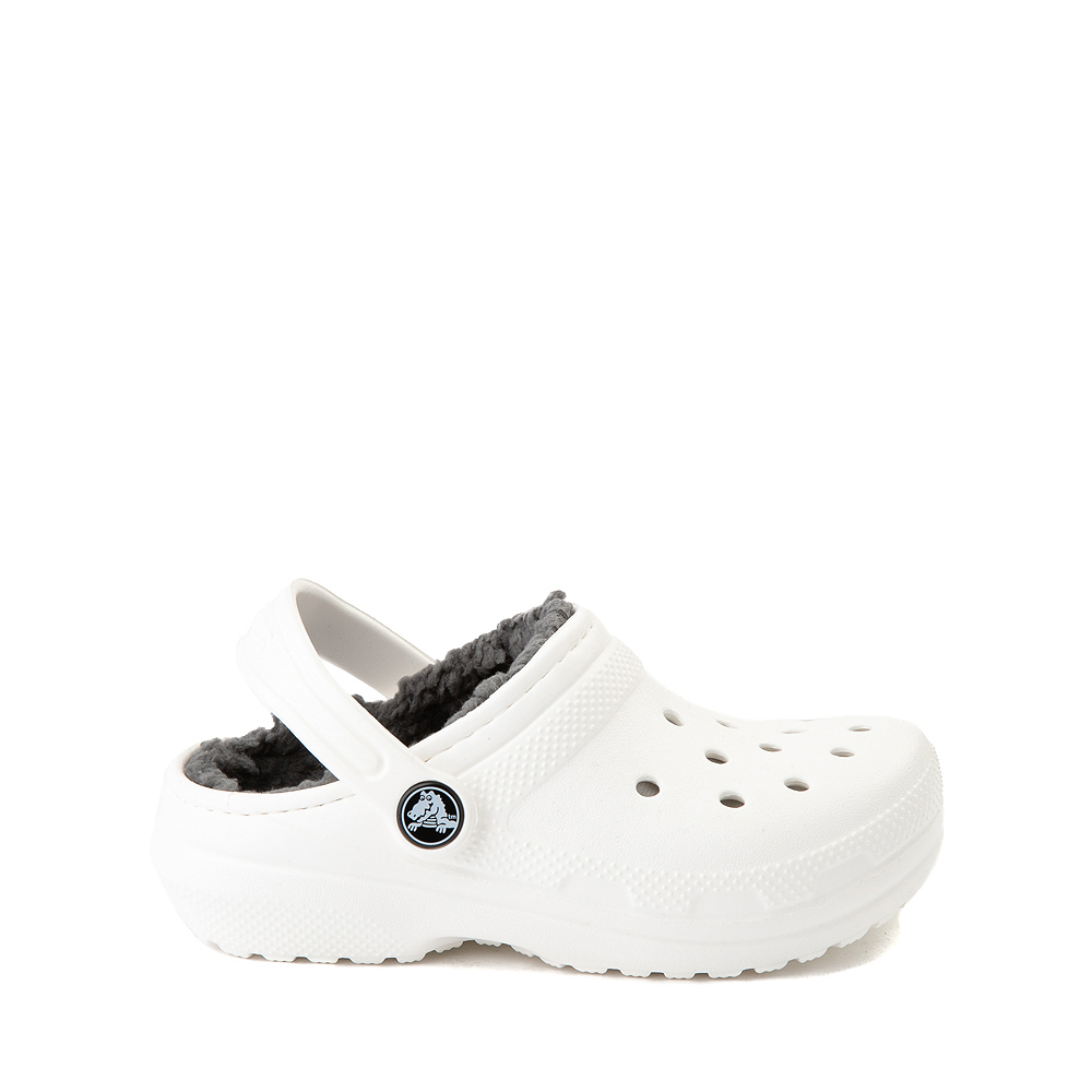 Crocs Classic Fuzz-Lined Clog - Little Kid / Big Kid - White / Gray