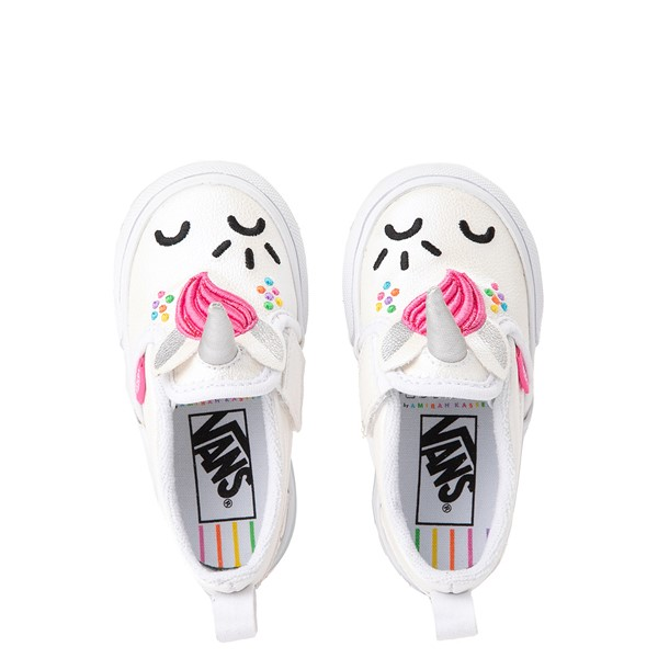 Main view of Vans x FLOUR SHOP Slip On Cara The Unicorn Skate Shoe - Baby / Toddler - White