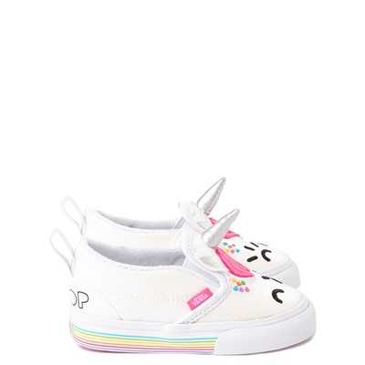 Alternate view of Vans x FLOUR SHOP Slip On Cara The Unicorn Skate Shoe - Baby / Toddler - White