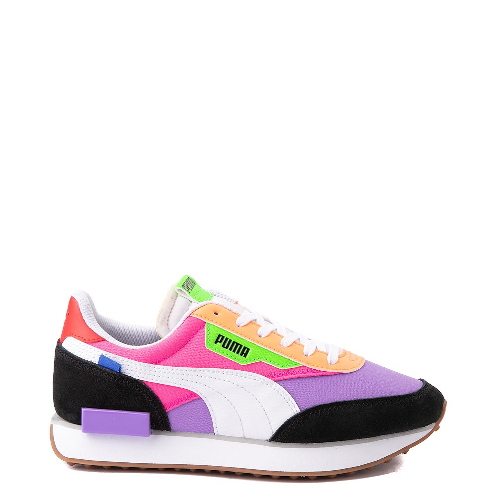 Womens Puma Future Rider Play On Athletic Shoe - Purple / Pink / White / Black