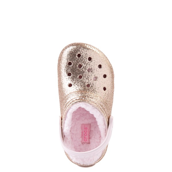 alternate view Crocs Classic Fuzz-Lined Glitter Clog - Baby / Toddler / Little Kid - Gold / Barely PinkALT4B