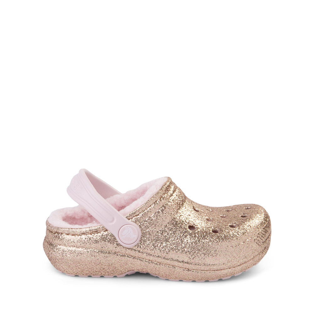 Crocs Classic Fuzz-Lined Glitter Clog - Baby / Toddler / Little Kid - Gold / Barely Pink