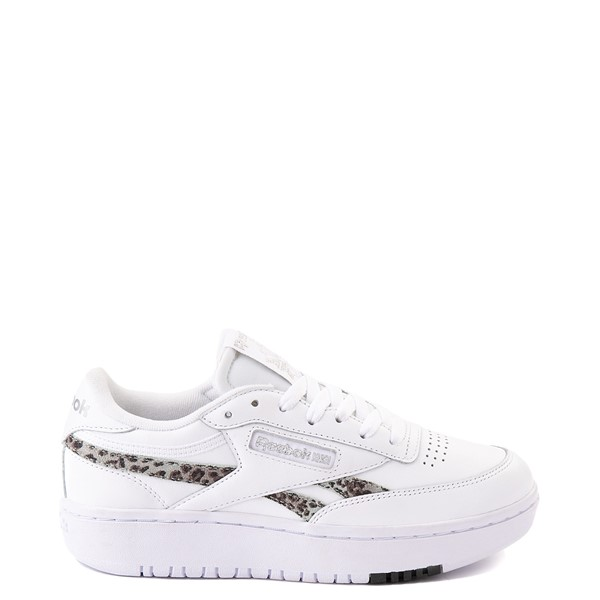 Main view of Womens Reebok Club C Double Athletic Shoe - White / Snow Leopard