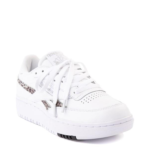 alternate view Womens Reebok Club C Double Athletic Shoe - White / Snow LeopardALT5