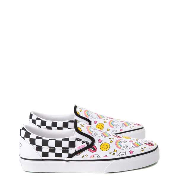 Vans x FLOUR SHOP Slip On Icons Checkerboard Skate Shoe - White / Black