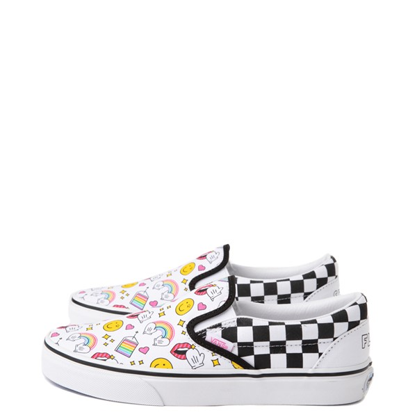 alternate view Vans x FLOUR SHOP Slip On Icons Checkerboard Skate Shoe - White / BlackALT1