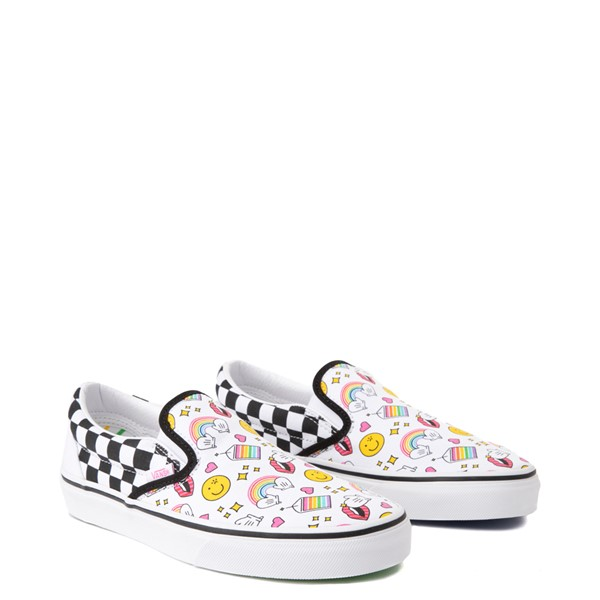 alternate view Vans x FLOUR SHOP Slip On Icons Checkerboard Skate Shoe - White / BlackALT5