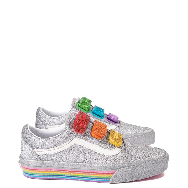 Main view of Vans x FLOUR SHOP Old Skool V Glitter Skate Shoe - Silver / Rainbow