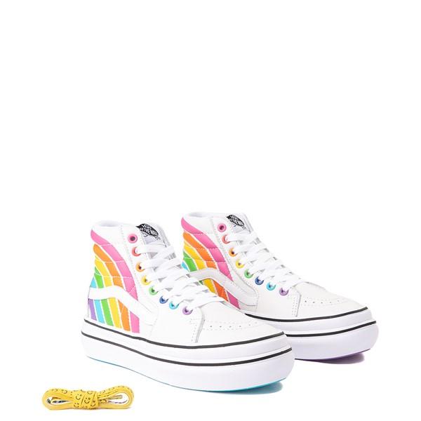 alternate view Vans x FLOUR SHOP Sk8 Hi Super ComfyCush® Platform Skate Shoe - White / RainbowALT1