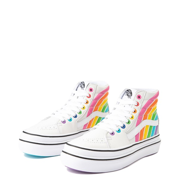 alternate view Vans x FLOUR SHOP Sk8 Hi Super ComfyCush® Platform Skate Shoe - White / RainbowALT3