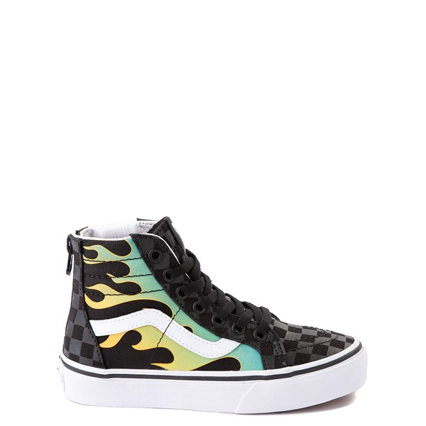 Vans Sk8 Hi Zip Glow Flame Skate Shoe - Little Kid - Black