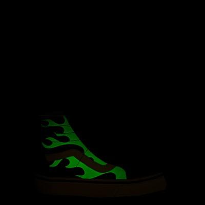 Alternate view of Vans Sk8 Hi Zip Glow Flame Skate Shoe - Little Kid - Black