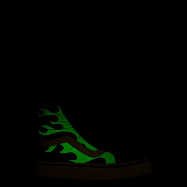alternate view Vans Sk8 Hi Zip Glow Flame Skate Shoe - Big Kid - BlackALT1
