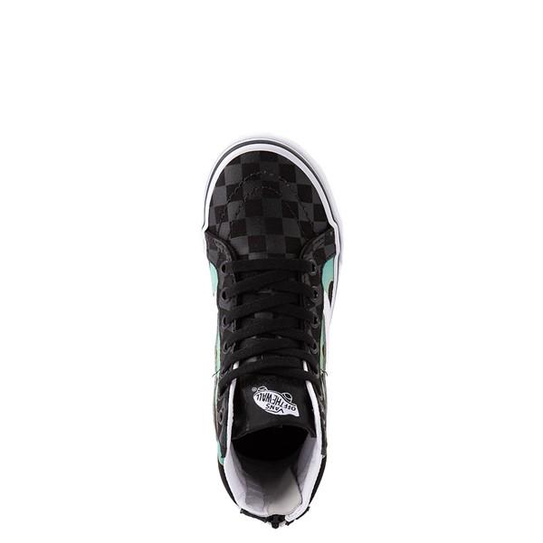 alternate view Vans Sk8 Hi Zip Glow Flame Skate Shoe - Big Kid - BlackALT4B