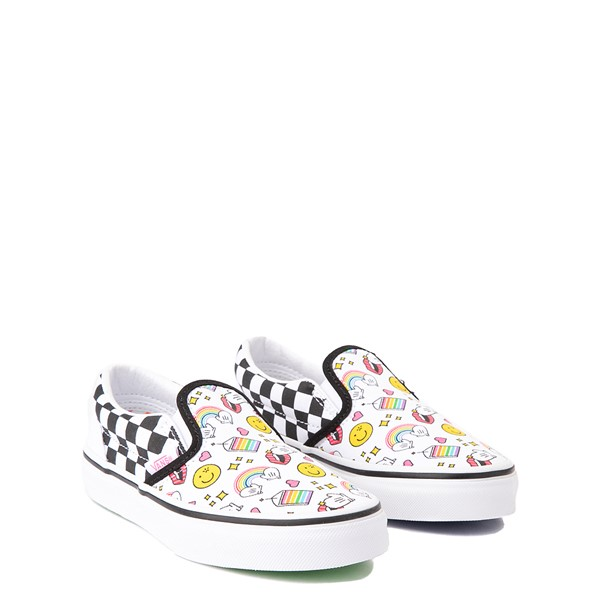alternate view Vans x FLOUR SHOP Slip On Icons Checkerboard Skate Shoe - Little Kid - White / BlackALT1