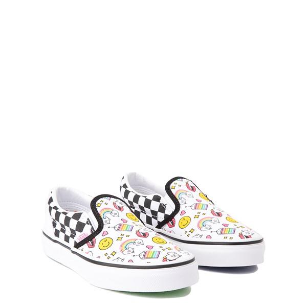 alternate view Vans x FLOUR SHOP Slip On Icons Checkerboard Skate Shoe - Little Kid - White / BlackALT1