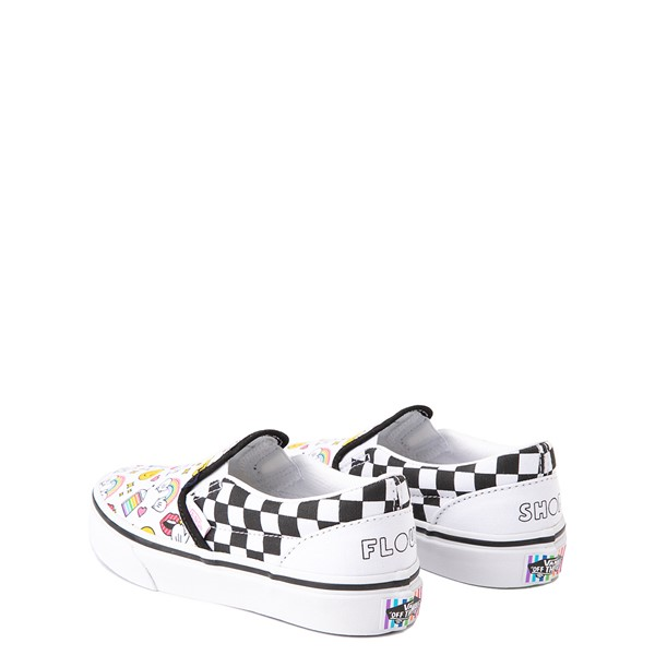 alternate view Vans x FLOUR SHOP Slip On Icons Checkerboard Skate Shoe - Little Kid - White / BlackALT2