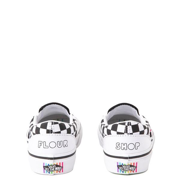 alternate view Vans x FLOUR SHOP Slip On Icons Checkerboard Skate Shoe - Little Kid - White / BlackALT2B