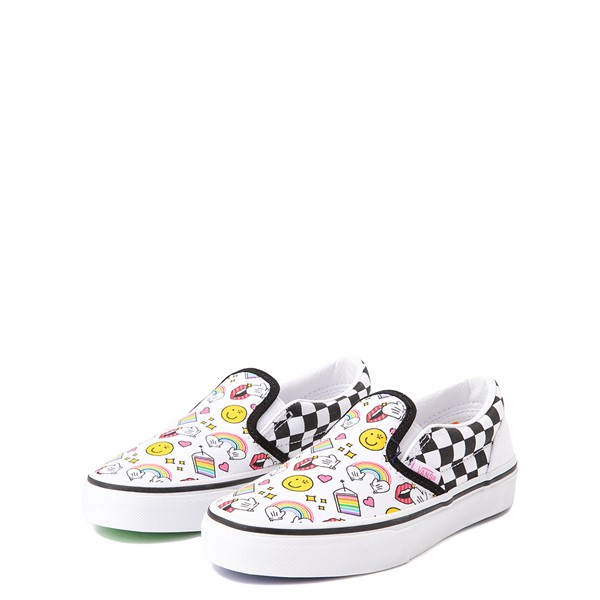 alternate view Vans x FLOUR SHOP Slip On Icons Checkerboard Skate Shoe - Little Kid - White / BlackALT3