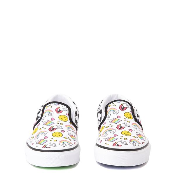 alternate view Vans x FLOUR SHOP Slip On Icons Checkerboard Skate Shoe - Little Kid - White / BlackALT4