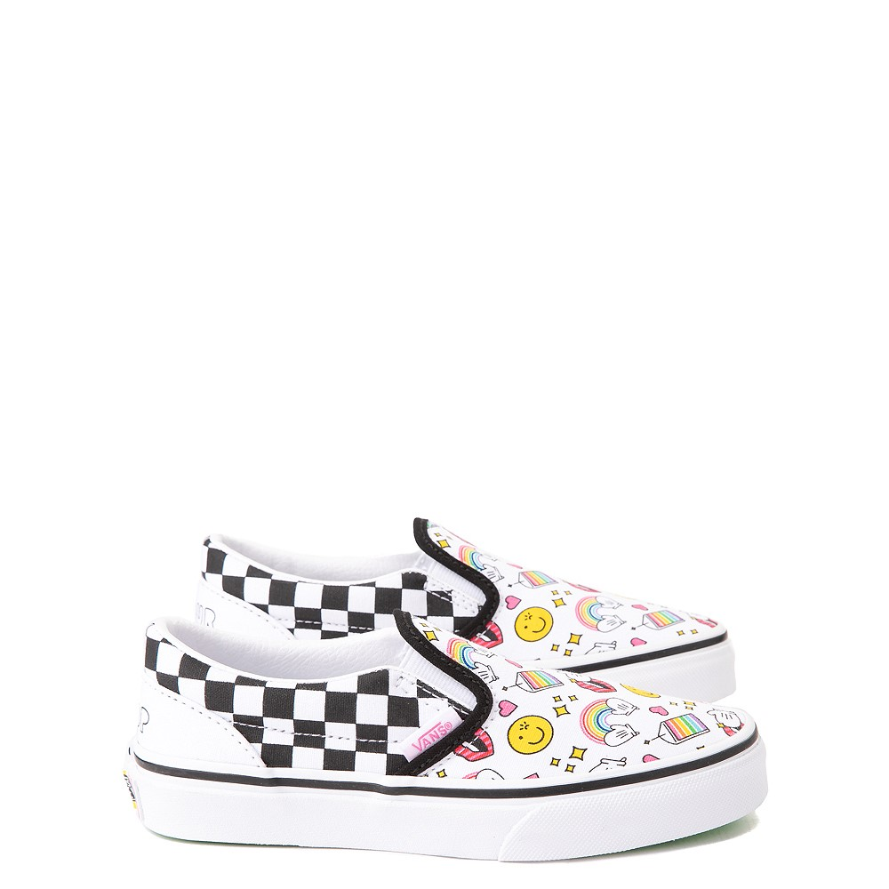 Vans x FLOUR SHOP Slip On Icons Checkerboard Skate Shoe - Little Kid - White / Black