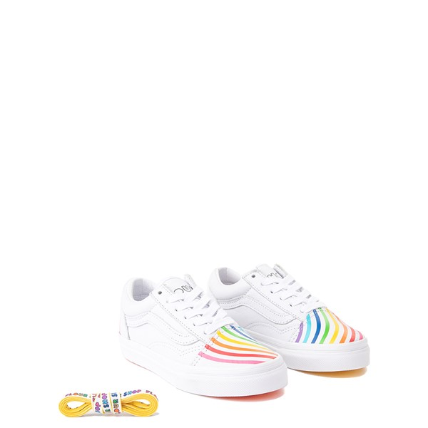 alternate view Vans x FLOUR SHOP Old Skool Rainbow Skate Shoe - Little Kid - WhiteALT1