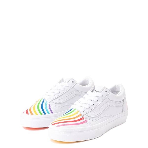 alternate view Vans x FLOUR SHOP Old Skool Rainbow Skate Shoe - Little Kid - WhiteALT3