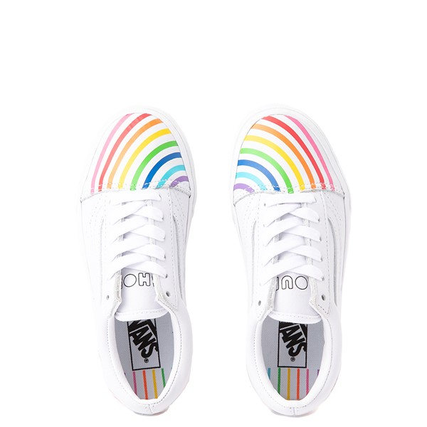alternate view Vans x FLOUR SHOP Old Skool Rainbow Skate Shoe - Little Kid - WhiteALT4B