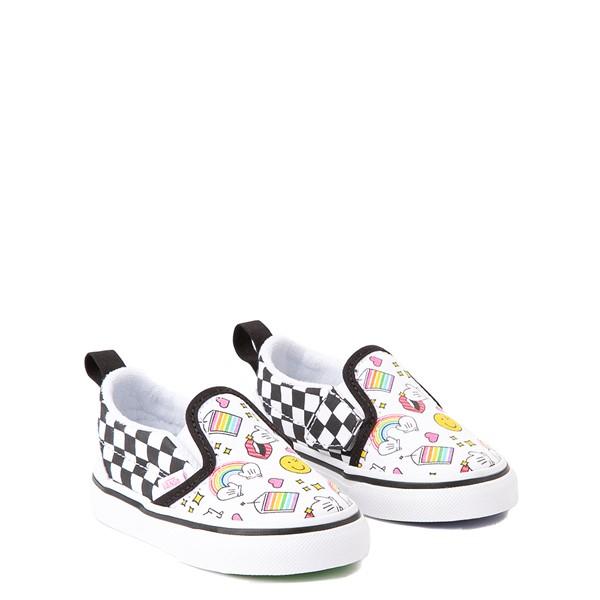 alternate view Vans x FLOUR SHOP Slip On V Icons Checkerboard Skate Shoe - Baby / Toddler - White / BlackALT1