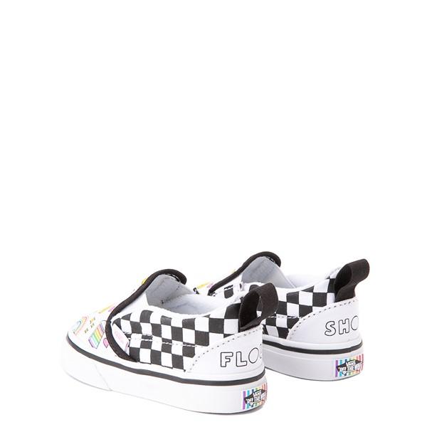 alternate view Vans x FLOUR SHOP Slip On V Icons Checkerboard Skate Shoe - Baby / Toddler - White / BlackALT2