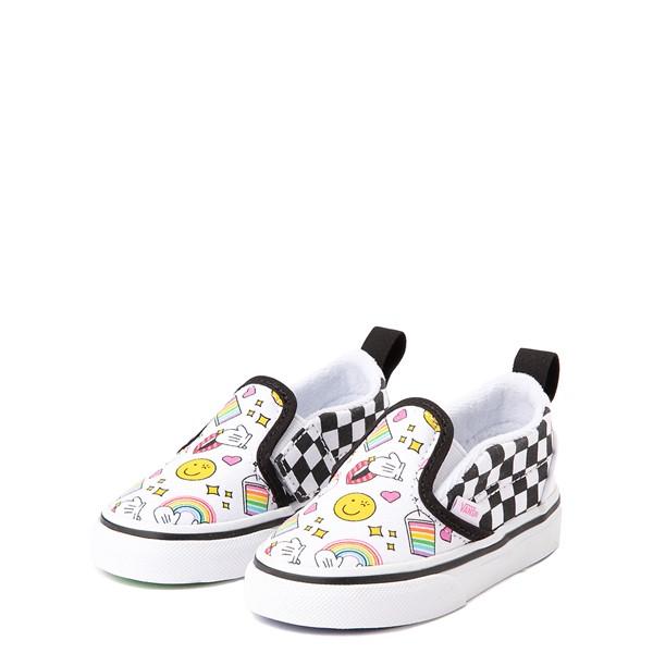 alternate view Vans x FLOUR SHOP Slip On V Icons Checkerboard Skate Shoe - Baby / Toddler - White / BlackALT3