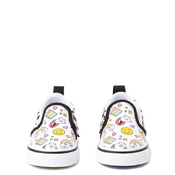 alternate view Vans x FLOUR SHOP Slip On V Icons Checkerboard Skate Shoe - Baby / Toddler - White / BlackALT4