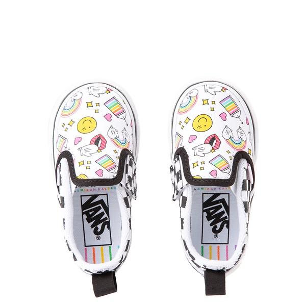 alternate view Vans x FLOUR SHOP Slip On V Icons Checkerboard Skate Shoe - Baby / Toddler - White / BlackALT4B