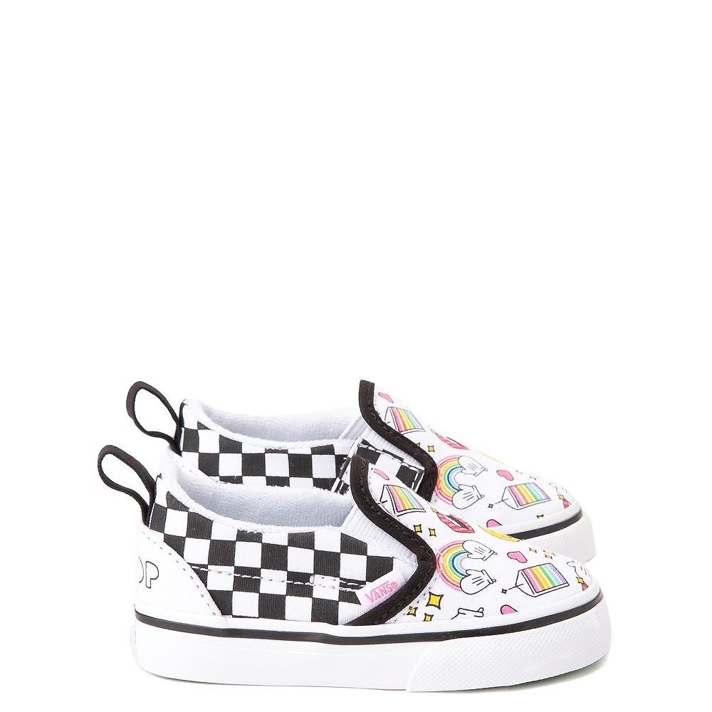 Vans x FLOUR SHOP Slip On V Icons Checkerboard Skate Shoe - Baby / Toddler - White / Black