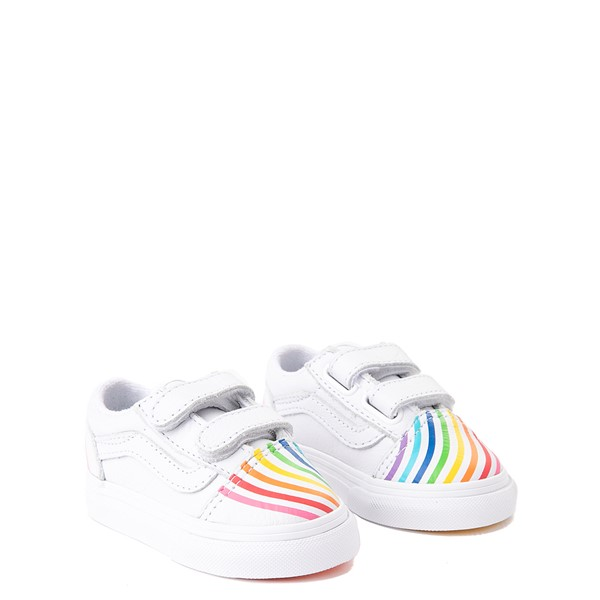 alternate view Vans x FLOUR SHOP Old Skool V Rainbow Skate Shoe - Baby / Toddler - WhiteALT1