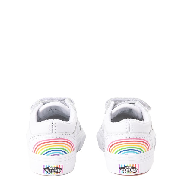 alternate view Vans x FLOUR SHOP Old Skool V Rainbow Skate Shoe - Baby / Toddler - WhiteALT2B