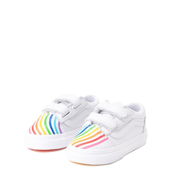 alternate view Vans x FLOUR SHOP Old Skool V Rainbow Skate Shoe - Baby / Toddler - WhiteALT3